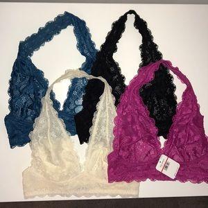 NWT Bundle Free People Lace Bralettes Halter XS